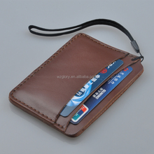 Promotional Fashion Genuine Leather Deep Brown Hand Strap Slim Card Case Super Thin Fashion Card Holder