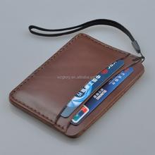 Promotional Fashion Genuine Leather Deep Brown Hand Strap Slim Card Case Super Thin Fashion Card Holder