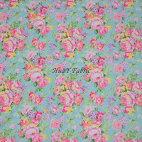 New Blue floral printed cotton fabric width 160cm floral fabric for dress free shipping HYC0007