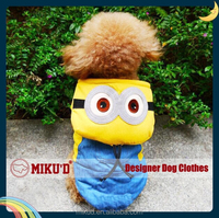 NEW Wholesale Top Fabric Pet Dog Minoins Cosplay Costume, Funny Dog Coat, dog clothes for Christmas