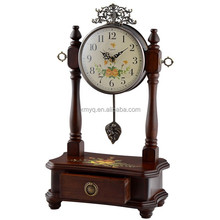 Antique Decorative Pendulum Clock Desktop Wooden Table Clock Retro