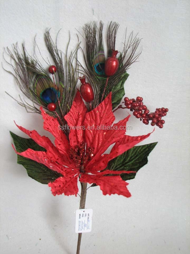 Christmas Indoor Decorations Artificial Velvet Glitter