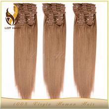Factory supply high grade virgin 30 inch human hair extensions clip in