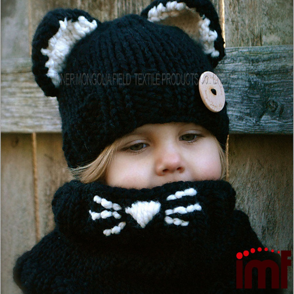 Crochet Kitty Hat : Kitty Hat And Cowl Set Cute Crochet Cat Hat With Ears - Buy Kitty Hat ...