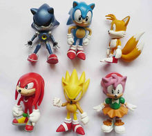 Sonic the Hedgehog Mini Figures Collectibles 6 Pack 6pcs Loose for Children's Day Cute Gift/Toy