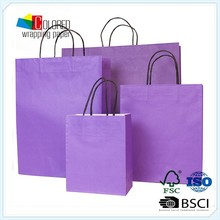 Eco-friendly purple kraft paper bags set twisted paper handle shopping bags