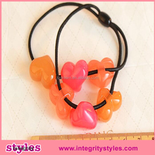 Acrylic Popular Heart Elastic Colored Hair Rubber Bands