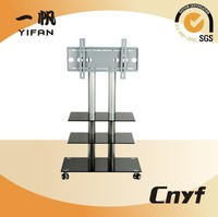 tempered glass lcd tv table, living room furniture modern designs tv cabinet led tv trolley
