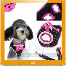 adorable butterfly knot dog harness in purple and black