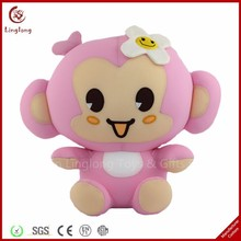 Lovely plush pink girl monkeytoy sitting stuffed cartoon monkey dolls cuddly cartoon animal toy