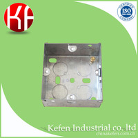 "3"" 3"" 35mm 1.1mm thickness BS4662 electric GI metal switch boxes with knock out adjustive lug brass screw"