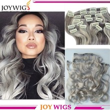 Wholesale clip in hair extension REMY cheap 100% human hair grey color clip in hair extension