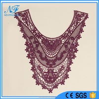 2015 Fashion Mesh Rayon Embroidery Lace Neckline Designs For Frock