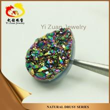 Charming drusy quartz round shaped multiple color drusy rough agate