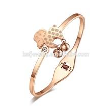 chapado en oro rosa joyería de acero inoxidable alambre ajustable brazalete pulsera de venta al por mayor
