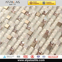 Digital 15*15mm gold glass mix gray marble stone bathroom mosaic designs