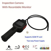 """420TVL 2M IR Snake Inspection commercial security camera with 2.7"""" TFT Monitor, Support Max. 32GB TF Card"""