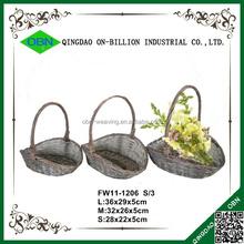 High handle wicker woven artificial flower basket gift
