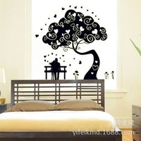 2015 Luminous bedroom marriage room wallpapers backdrop new fashion DIY wall stickers tree lovers sticker 30pcs
