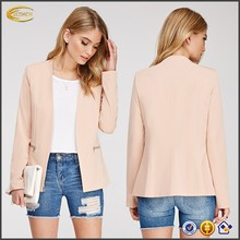 2015 OEM spring fashion Collarless Blazer business suit model coat women
