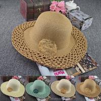 2015 new fancy summer styles holiday lady straw hat hand made camel crochet women beach straw sun hat (SU-SSH120)