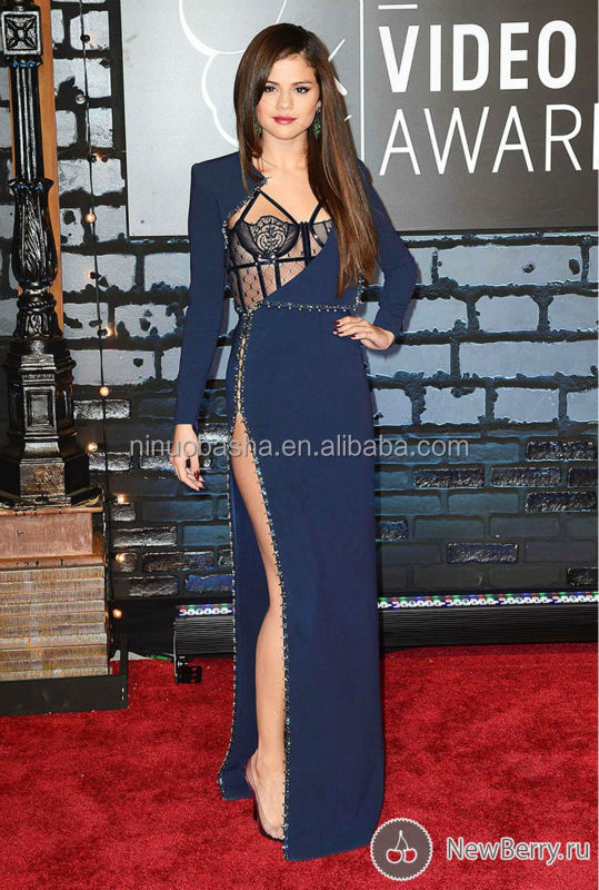 Sexy Selena Gomez Celebrity Dress 2013 Dark Blue Long