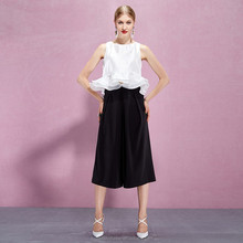 YIGELILA 2015 New Summer Ladies Fashion Latest Wide Leg Black Cargo Skirt Pants 5240