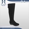 Wool fur lined suede upper platform sole women thigh high boots