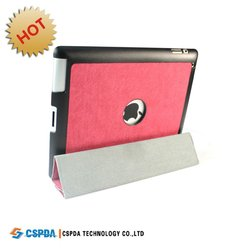 For new ipad 3 ipad 2 leather stand case cover with hard shell