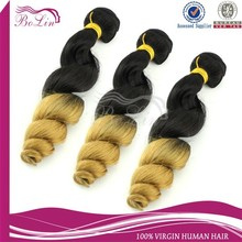 dropshipping 2015 Hot sell hair product100% Brazilian Virgin Hair Double Wefts Hair Extensions Ombre Loose Wave