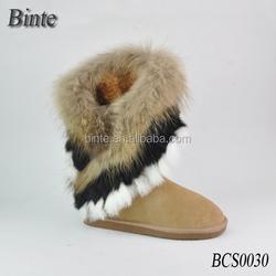 women winter warm high long snow half boots fox rabbit fur tassel shoes