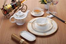 Porcelain gold rim dinner set square modern dinner set with flower