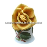 decorative rose of gold ceramic flower bell