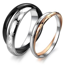 twins stainless steel carbide couple ring jewelry