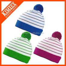 Custom knit jacquard pompom man hat