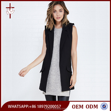 Fashion Longline Black Plain Women Work Vest with Notched Collar