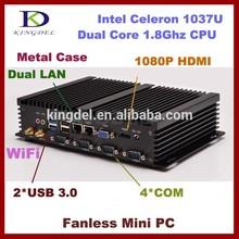 Aluminio sin ventilador de la computadora en casa Celeron 1037U Dual core <span class=keywords><strong>CPU</strong></span> RAM + SSD + hdd, htpc, Dual lan, 4 * com,VGA