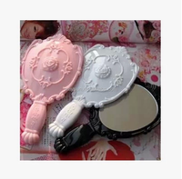 200pcs Vintage Rose Cosmetic Mirror Plastic Makeup Mirror Cute Girl Hand Make Up mirror DHL Freeshipping