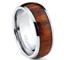 Titanium inlaid koa wood Ring Wedding Band, Engagement Ring with Real Wood Inlay RING, 8mm Comfort Fit(MA150301)
