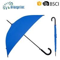 Double Ribs Blue Pongee Unique Automatic Solid Stick Umbrella