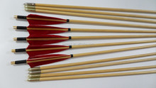85cm Craftsmans Handmade Traditional Wooden Arrow Hunting Archery Red Feathers Bow Wholesale