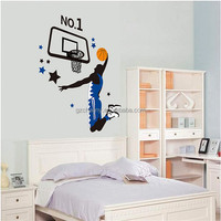 90 x 60cm 1PCS New PVC Removable Sports Basketball Player Dunk Wall Decal Art Sticker Home Bedroom Decoration