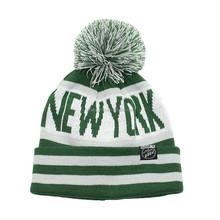 NEW YORK acrylic jacquard stripes knit pom pom beanie hat with cuff
