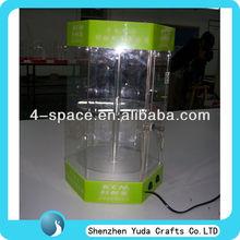 Acrilico trasparente rotazione vetrina, display a led vetrina, vetrina acrilico con serratura e chiave