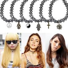Choker Collar Necklaces Women 2015 VINTAGE STRETCH TATTOO PENDANT CHOKER NECKLACE HENNA ELASTIC RETRO COLLAR 90S