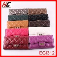 Latest stylish ladies beautiful magazine wallets sheepskin clasp plaid long wallet