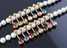 oro anodizzato doppio gemma anello pancia ombelico piercing