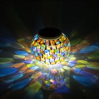 New Arrival Solar Powered Mosaic Glass Color Changing Rainbow LED Light , Rechargeable/ Waterproof Night Light for everywhere