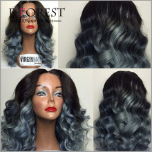 Top Grade Quality Grey Ombre Two Tone Hair Lace Wig Virgin Brazilian Hair Body Wave Full Lace Wig