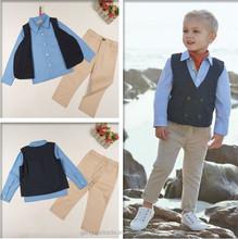 2015 European Style Handsome Boys Suit 3pcs Children Clothing Set t-shirt+waistcoat+jean pants Clothes Sets For boys